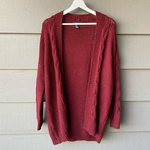 Forever 21 Burgundy Knit Cardigan